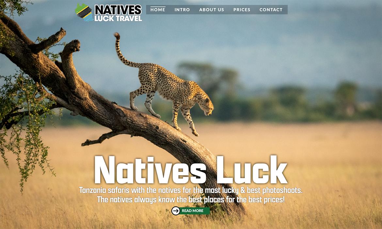 Webdesign voor Natives Luck Travel Tanzania